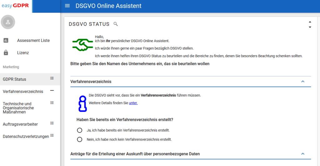 Screenshot des easyGDPR Schnelltests zum Feststellen ihres DSGVO Status